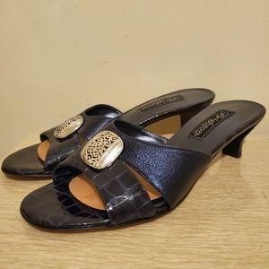 Brighton Kaye Navy Kitten Heeled Sandal Slides